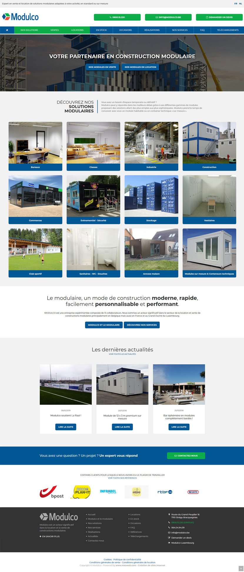 Snapshot du site web - Modulco