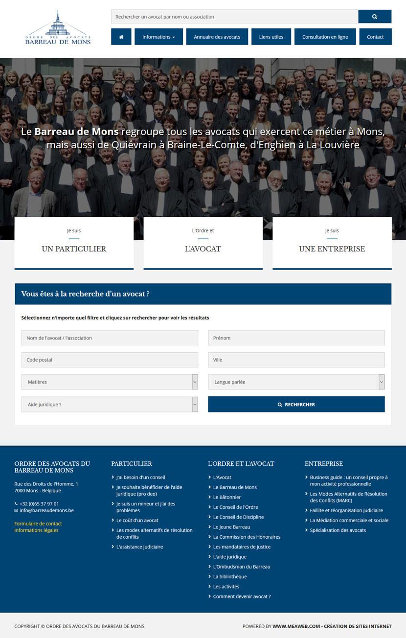 Snapshot du site web - Barreaux de Mons, Charleroi et Tournai